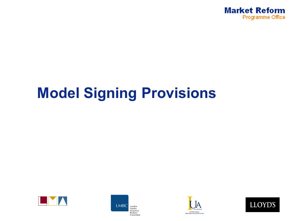 Model Signing Provisions