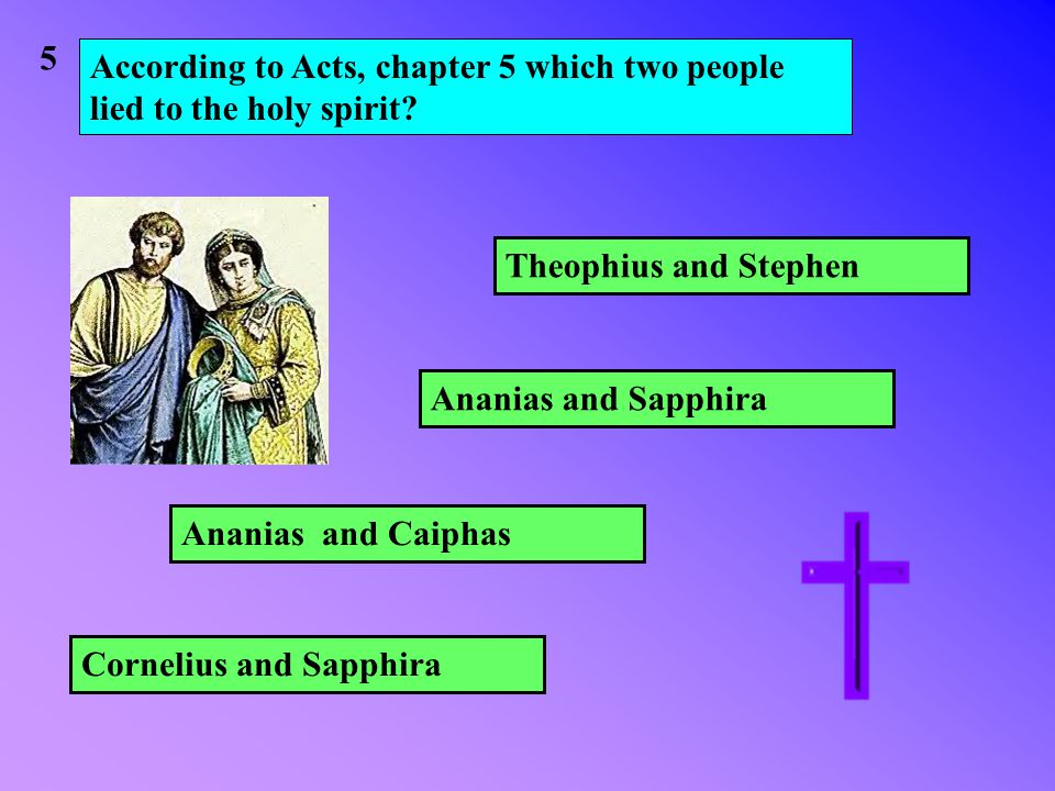 According to Acts, chapter 5 which two people lied to the holy spirit.