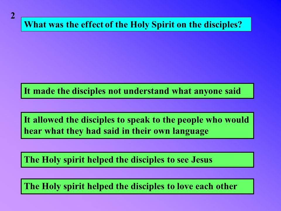 What was the effect of the Holy Spirit on the disciples.