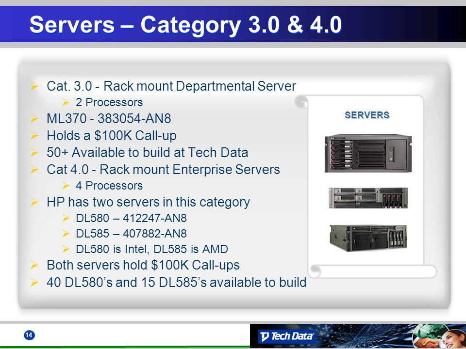 14 SERVERS Servers – Category 3.0 & 4.0 Cat. 3.0 - Rack mount Departmental Server 2 Processors ML370 - 383054-AN8 Holds a $100K Call-up 50+ Available