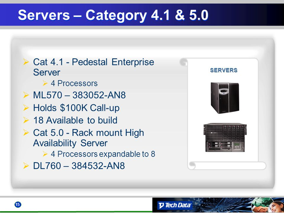 15 SERVERS Servers – Category 4.1 & 5.0 Cat 4.1 - Pedestal Enterprise Server 4 Processors ML570 – 383052-AN8 Holds $100K Call-up 18 Available to build Cat 5.0 - Rack mount High Availability Server 4 Processors expandable to 8 DL760 – 384532-AN8