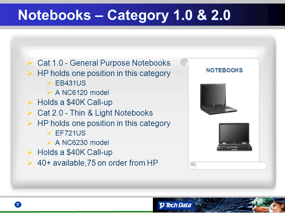 9 NOTEBOOKS Notebooks – Category 1.0 & 2.0 Cat 1.0 - General Purpose Notebooks HP holds one position in this category EB431US A NC6120 model Holds a $40K Call-up Cat 2.0 - Thin & Light Notebooks HP holds one position in this category EF721US A NC6230 model Holds a $40K Call-up 40+ available,75 on order from HP