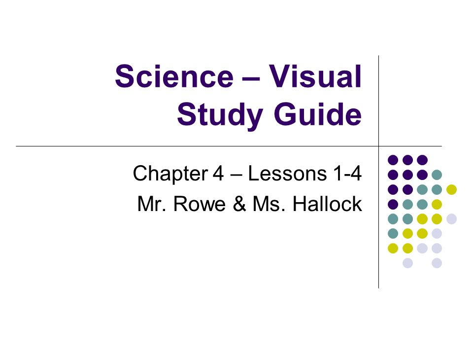 Science – Visual Study Guide Chapter 4 – Lessons 1-4 Mr. Rowe & Ms. Hallock