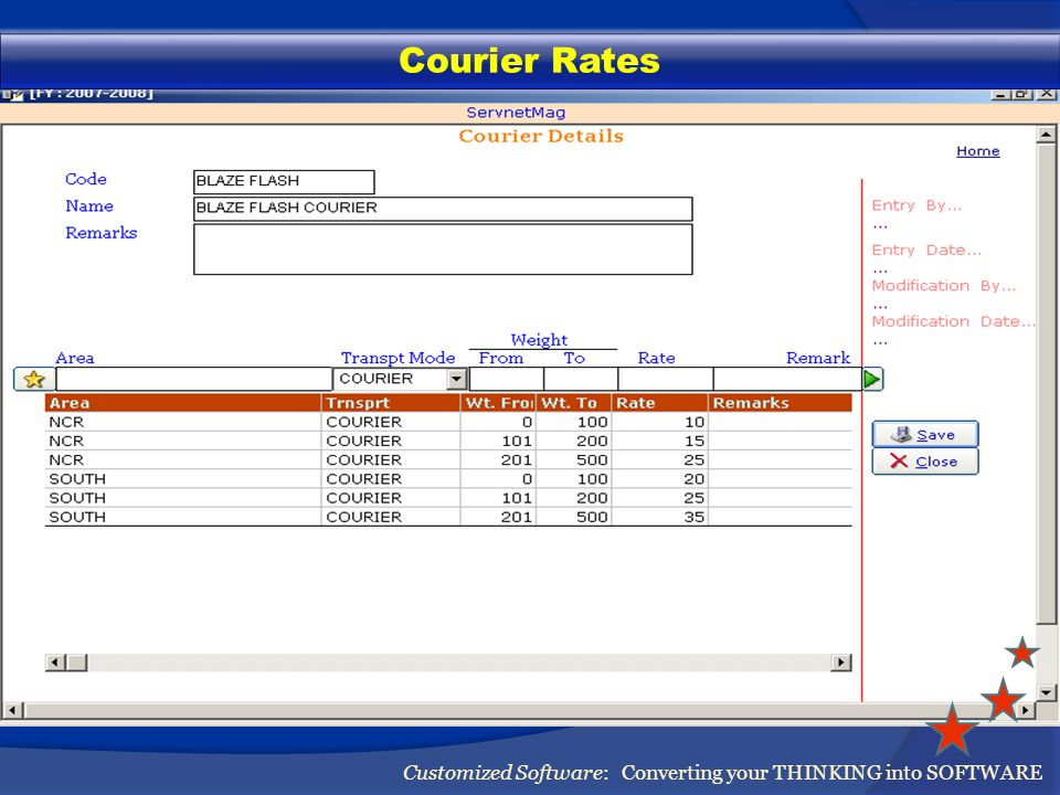 Manage Courier Companies Customized Software: Converting your THINKING into SOFTWARE