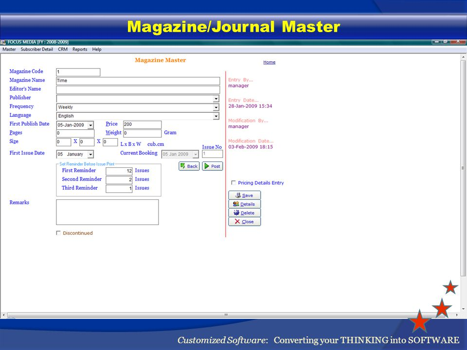 Agent/Salesman Master Customized Software: Converting your THINKING into SOFTWARE