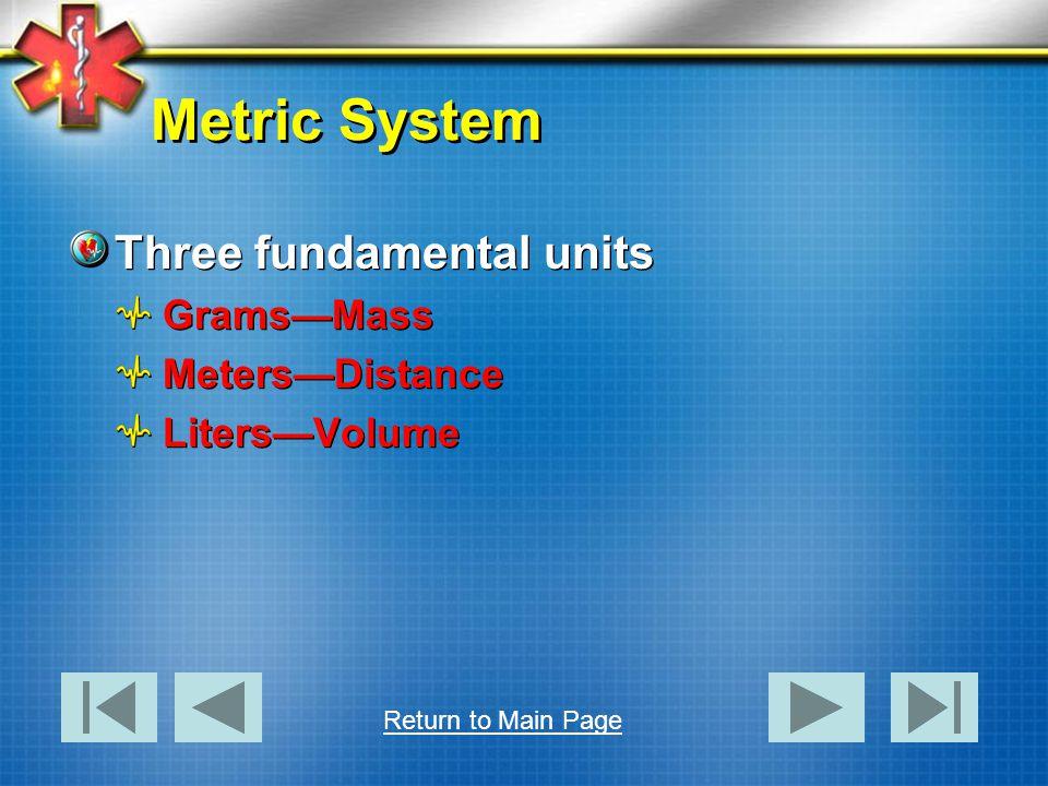 Metric System Three fundamental units GramsMass MetersDistance LitersVolume Three fundamental units GramsMass MetersDistance LitersVolume Return to Ma