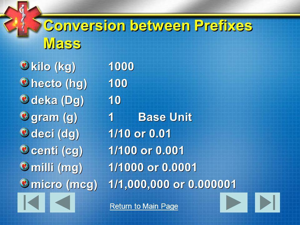 Conversion between Prefixes Mass kilo (kg)1000 hecto (hg)100 deka (Dg)10 gram (g)1Base Unit deci (dg)1/10 or 0.01 centi (cg)1/100 or 0.001 milli (mg)1