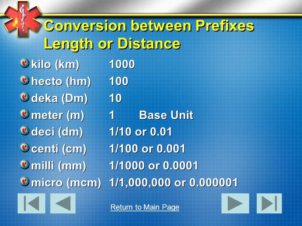 Conversion between Prefixes Length or Distance kilo (km)1000 hecto (hm)100 deka (Dm)10 meter (m)1Base Unit deci (dm)1/10 or 0.01 centi (cm)1/100 or 0.