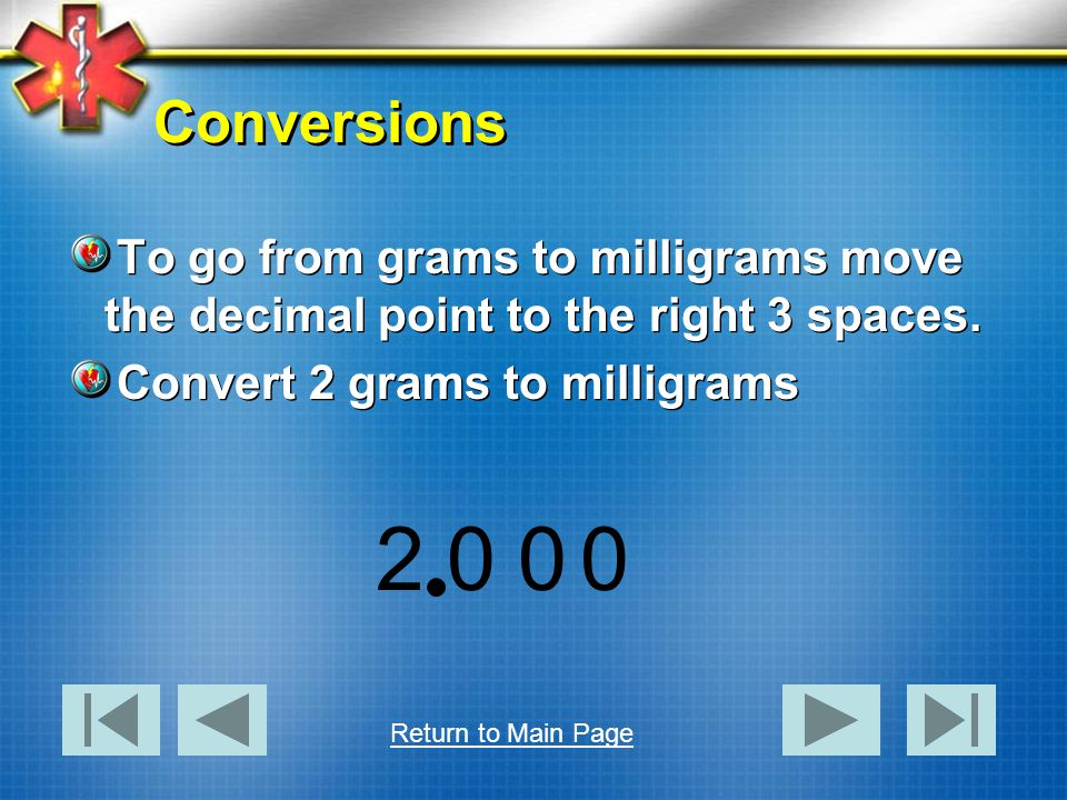 Conversions Lets convert milliliters to Liters.3000 mL equals how many Liters.