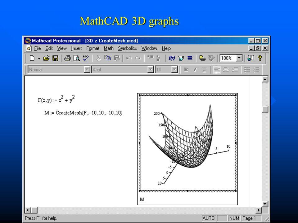 MathCAD 3D graphs