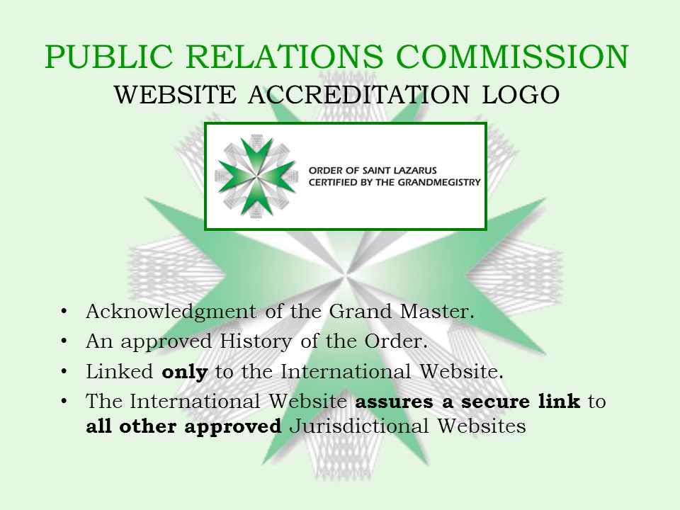 PUBLIC RELATIONS COMMISSION WEBSITE ACCREDITATION LOGO Acknowledgment of the Grand Master.