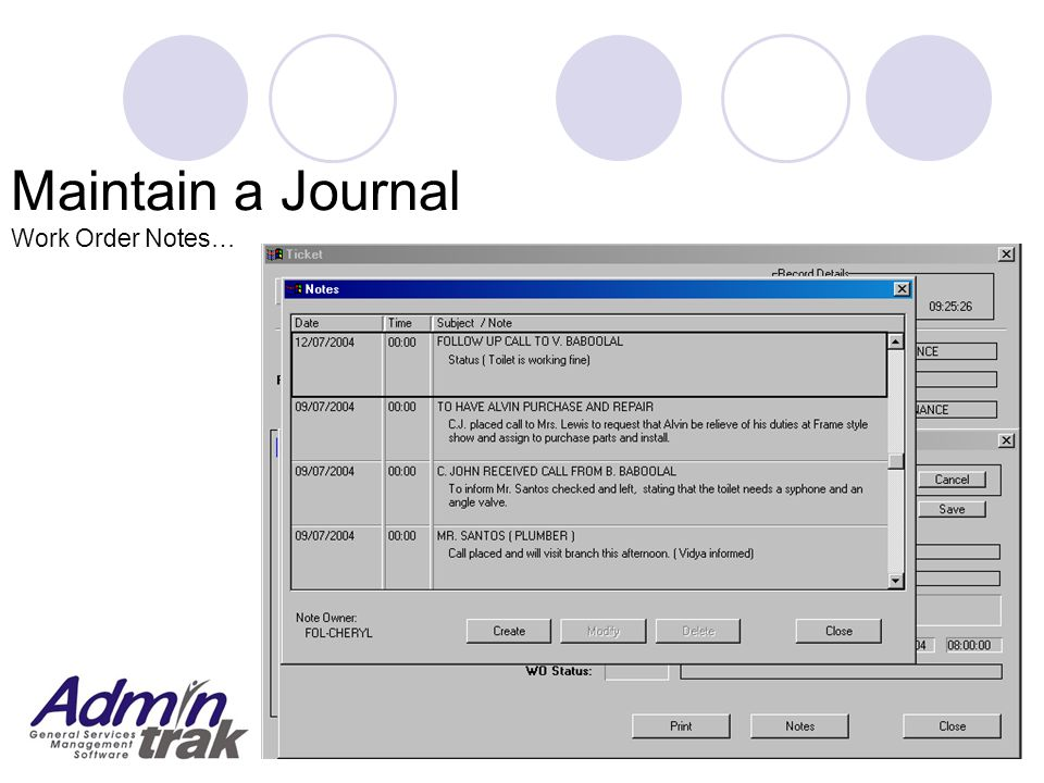 Maintain a Journal Work Order Notes…