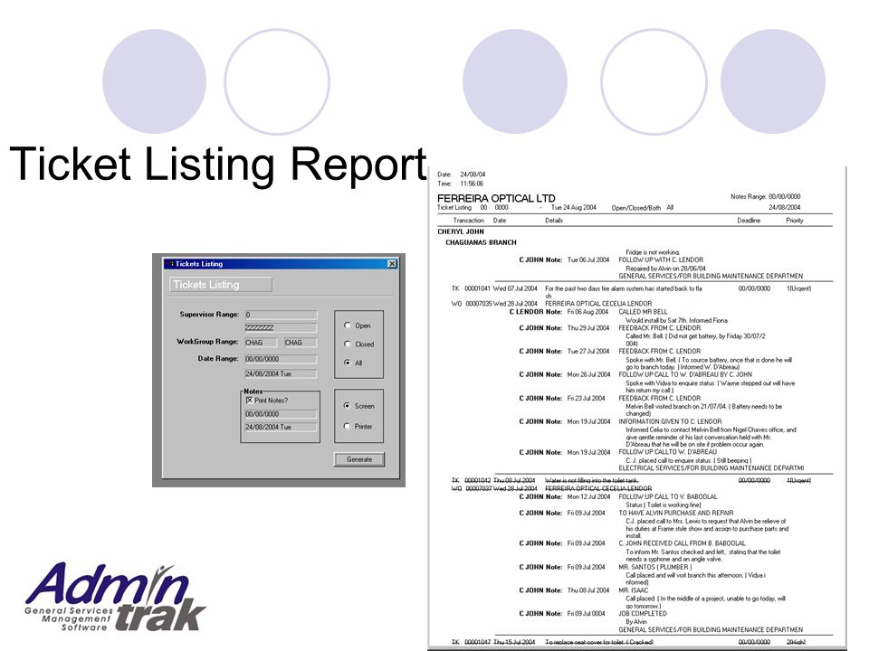 Ticket Listing Report