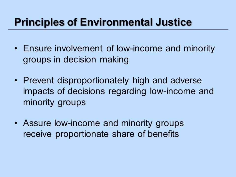 Principles of Environmental Justice Ensure involvement of low-income and minority groups in decision making Prevent disproportionately high and advers