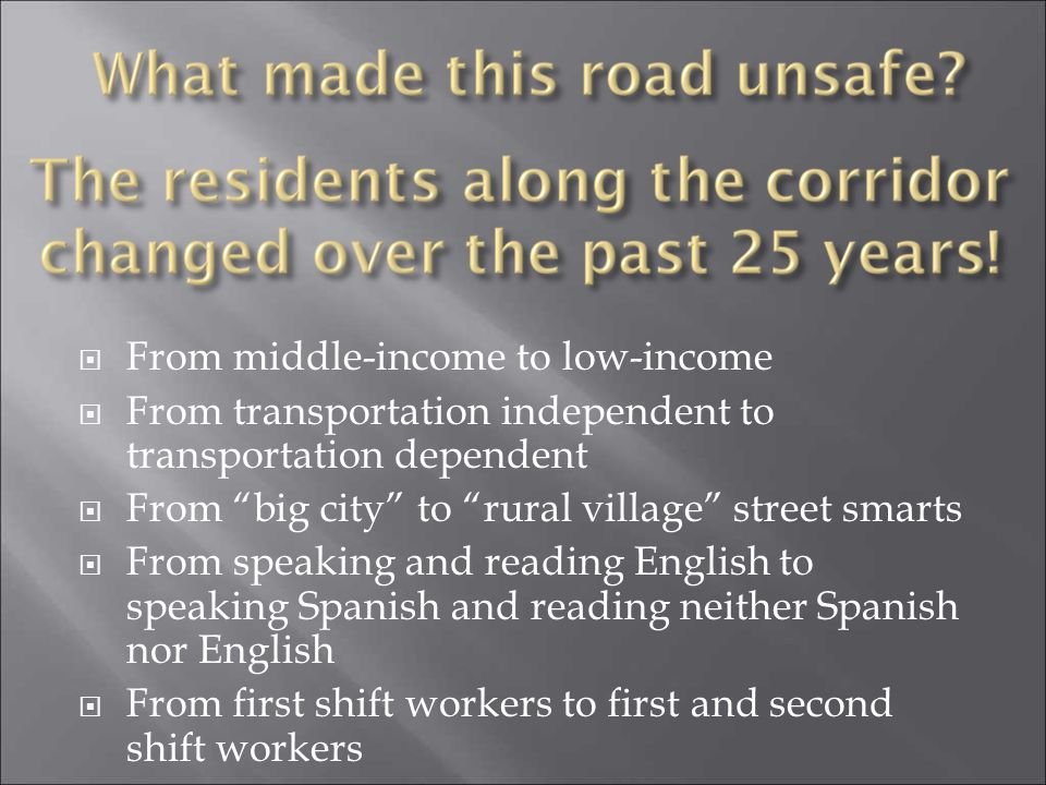 From middle-income to low-income From transportation independent to transportation dependent From big city to rural village street smarts From speakin