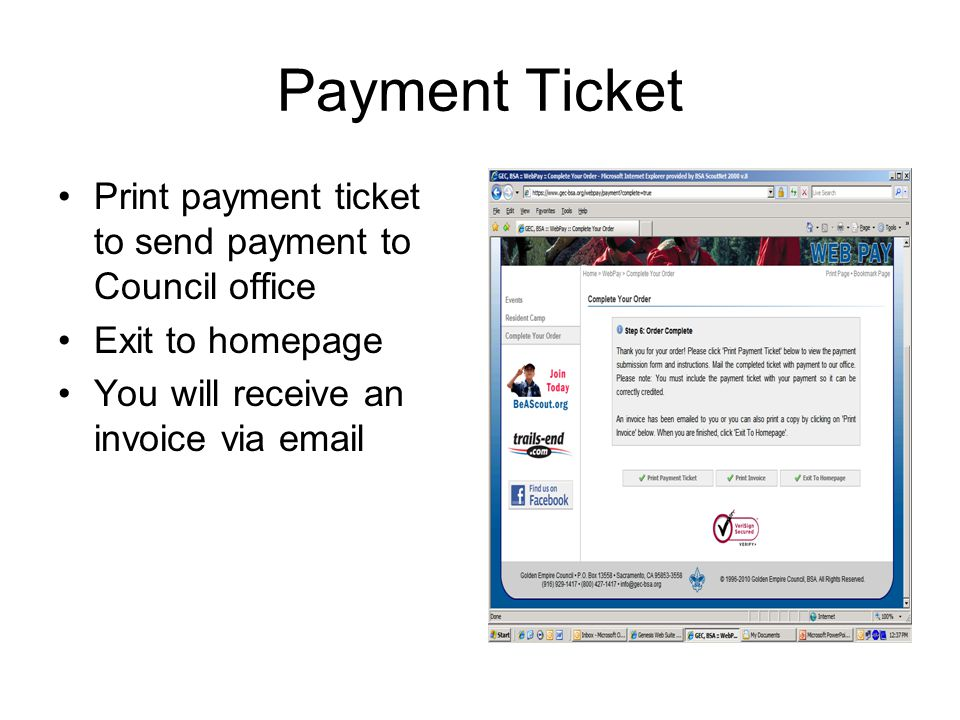 Payment Ticket Print payment ticket to send payment to Council office Exit to homepage You will receive an invoice via email