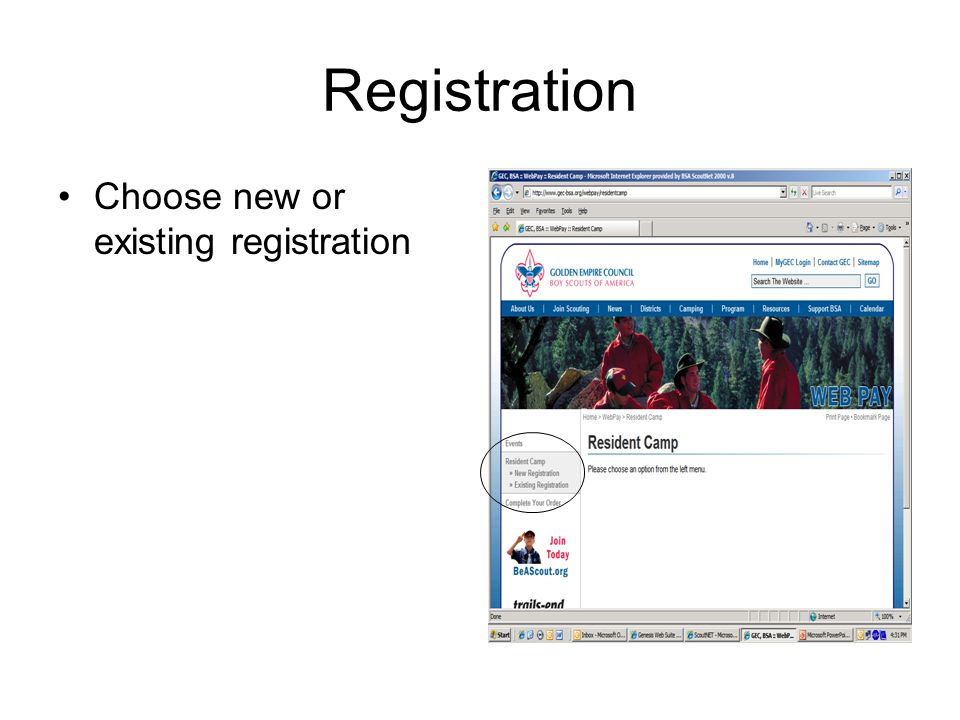 Registration Choose new or existing registration