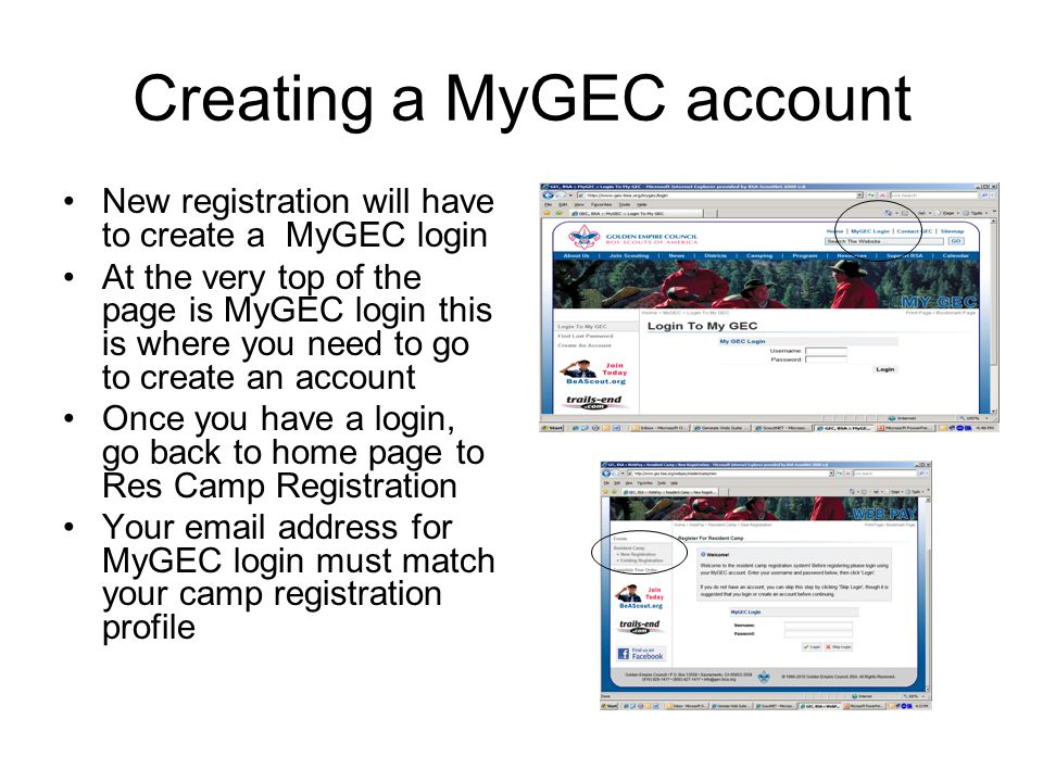 Creating a MyGEC account New registration will have to create a MyGEC login At the very top of the page is MyGEC login this is where you need to go to