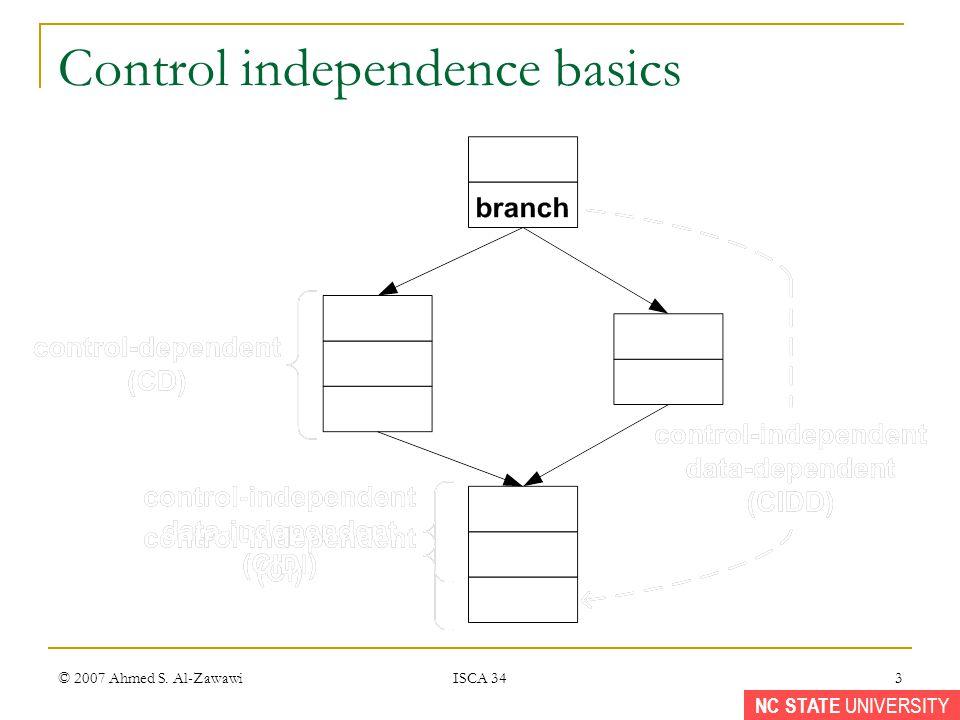 NC STATE UNIVERSITY © 2007 Ahmed S. Al-Zawawi ISCA 34 3 Control independence basics