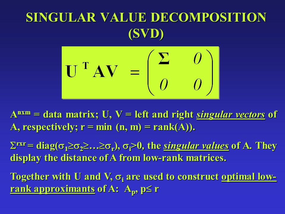 DENOISING WITH SVD SVD allows solving the problem of finding the nxm matrix A p, p rank(A), which will best approximate A in the 2-norm sense.