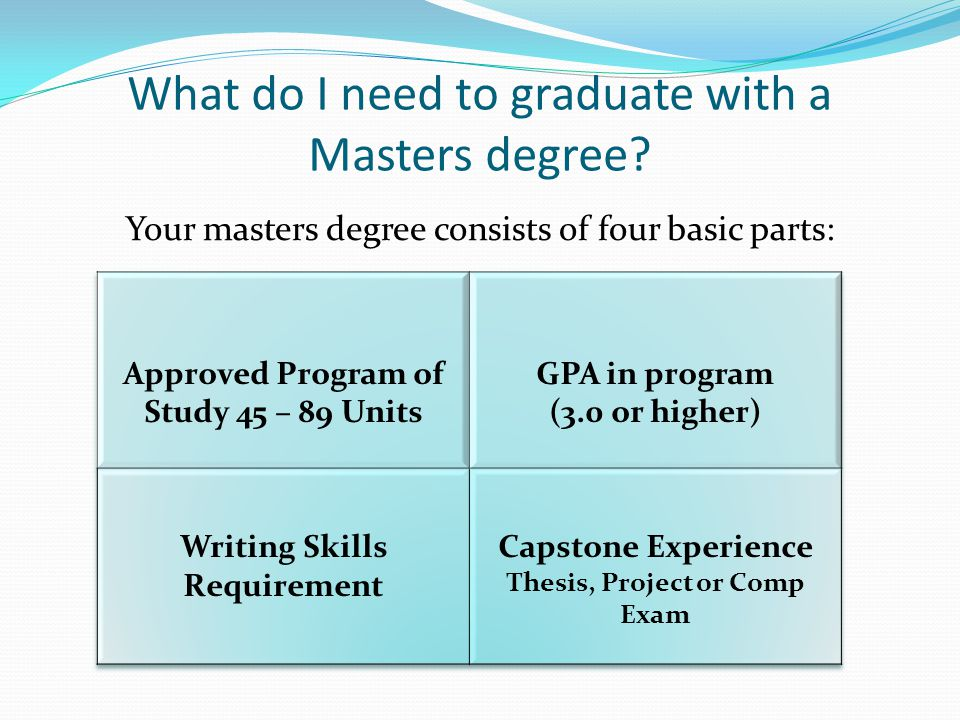 What do I need to graduate with a Masters degree? Your masters degree consists of four basic parts:
