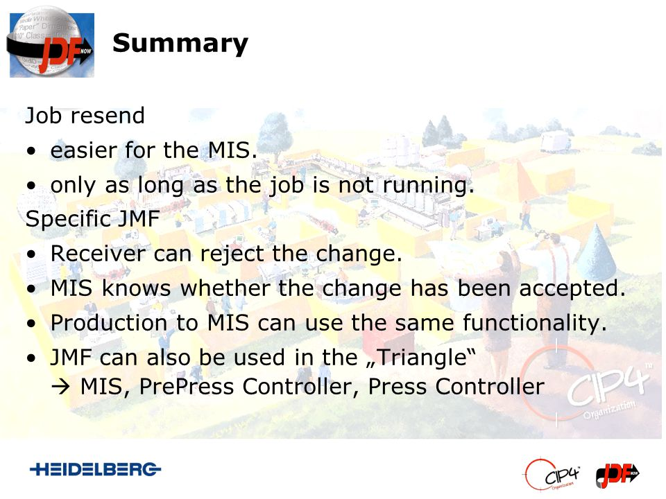 Summary Job resend easier for the MIS. only as long as the job is not running. Specific JMF Receiver can reject the change. MIS knows whether the chan