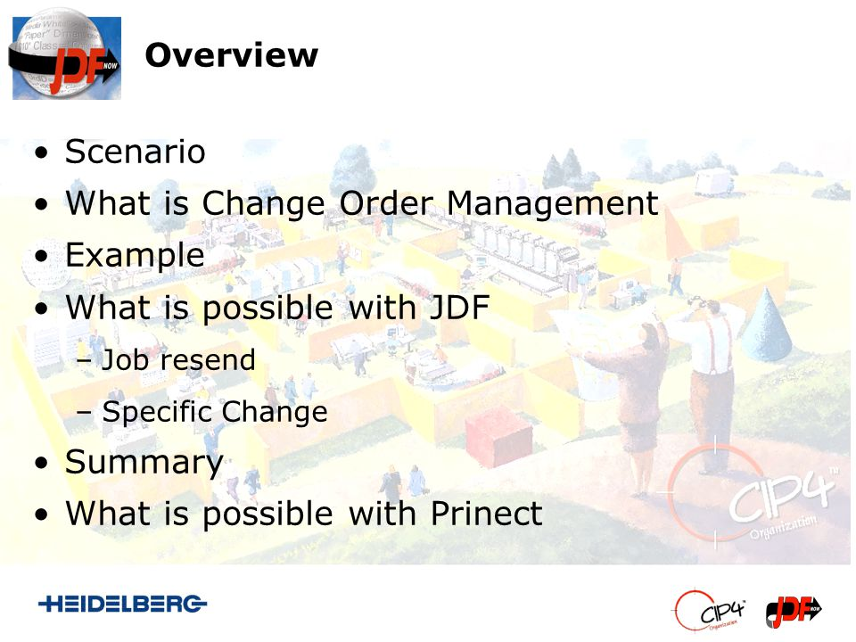Overview Scenario What is Change Order Management Example What is possible with JDF –Job resend –Specific Change Summary What is possible with Prinect