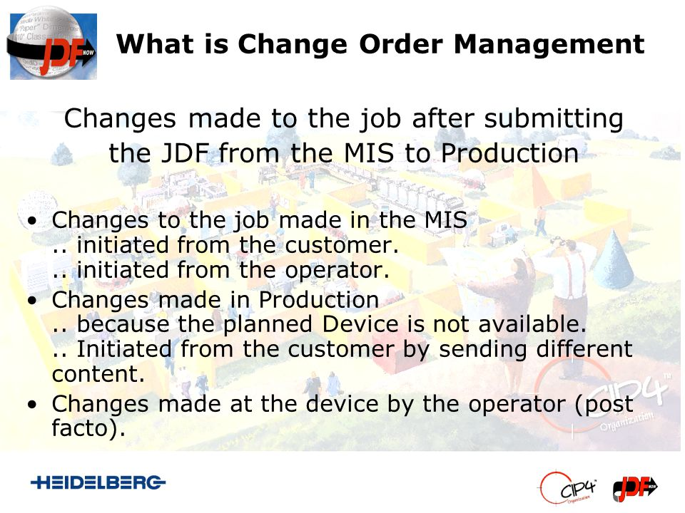 Example MIS creates the Job based on the specifications of the customer Saddlestitched Brochure A4 with 4p/4c Cover, 16p/4c Body The Production Job is sent to the Production Controller Production Controller starts processing the Job (Expanding GrayBoxes, Submitting Processes to Devices) Customer initiates change to his job through his CSR: 2500 Copies instead of 2000 Customer initiates change by sending the content for the cover pages with two additional Spotcolors.