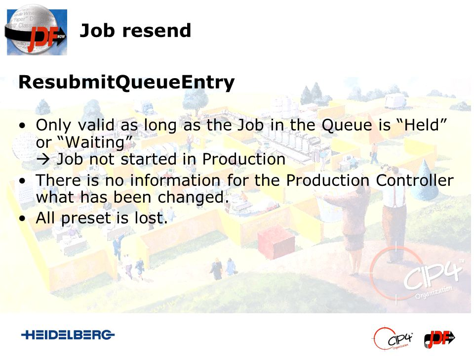 Job resend ResubmitQueueEntry Only valid as long as the Job in the Queue is Held or Waiting Job not started in Production There is no information for