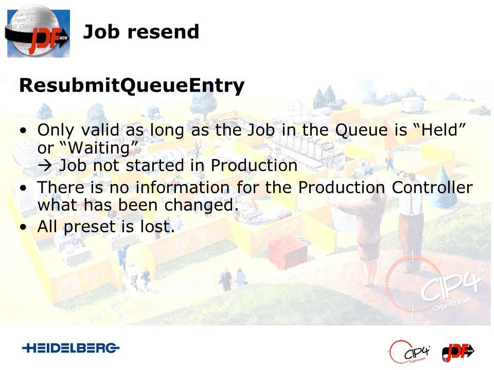 Job resend AbortQueueEntry/SubmitQueueEntry Necessary when Job started in Production.