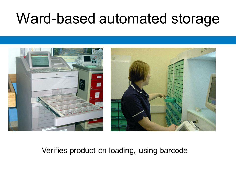 Ward-based automated storage Verifies product on loading, using barcode