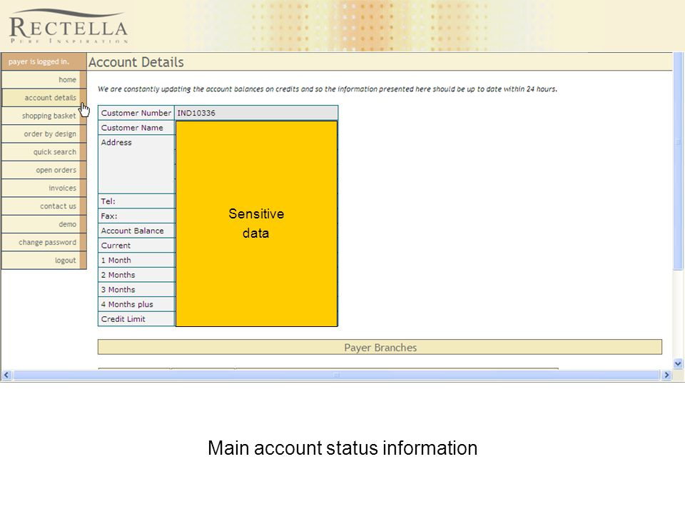 Main account status information Sensitive data