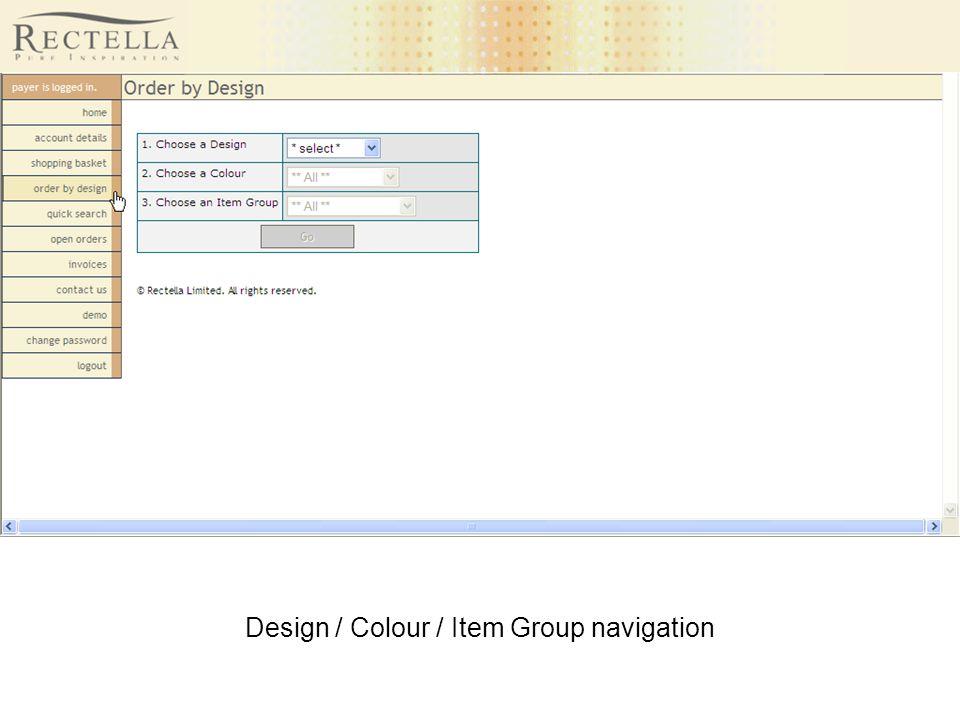 Design / Colour / Item Group navigation