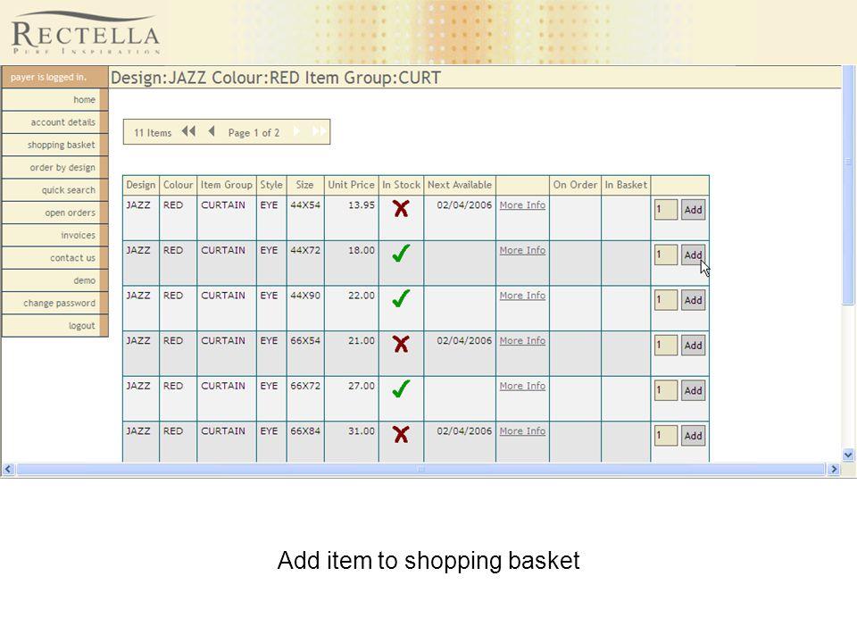 Add item to shopping basket