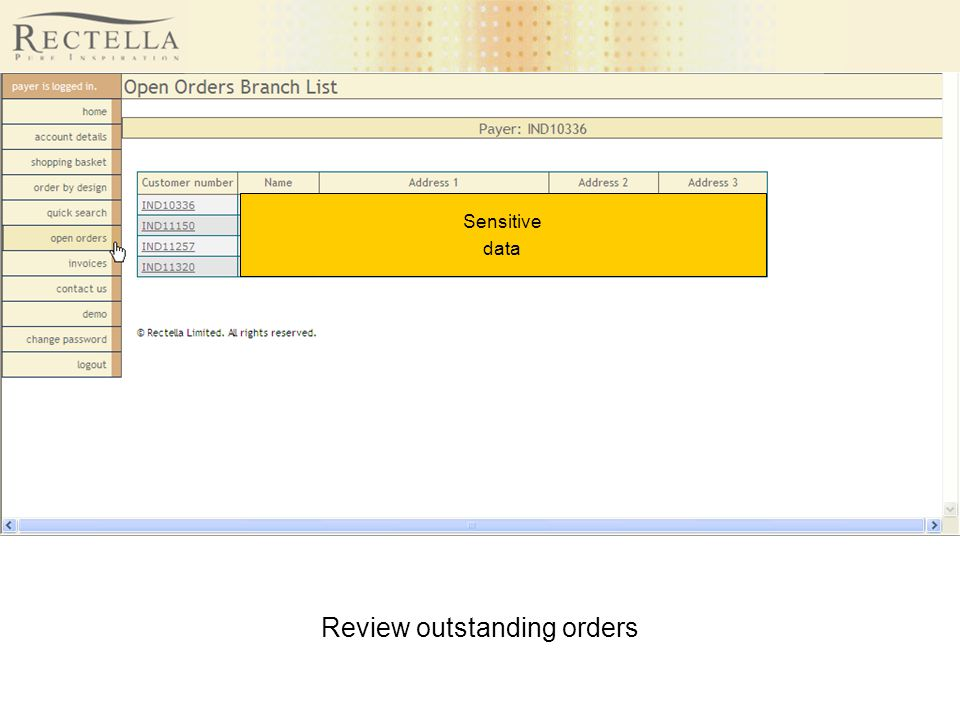 Review outstanding orders Sensitive data
