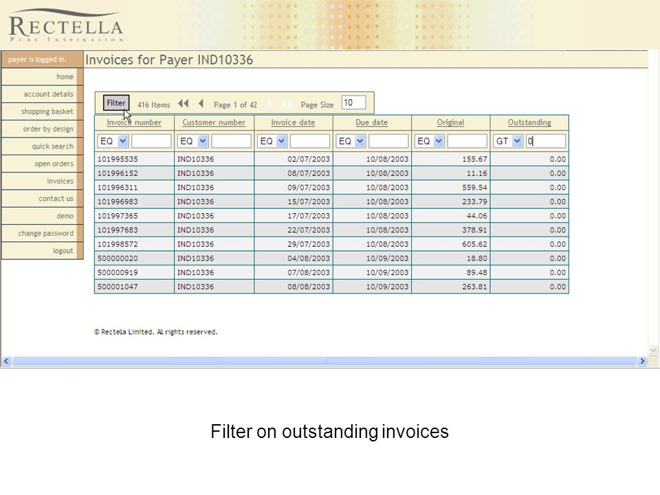Filter on outstanding invoices