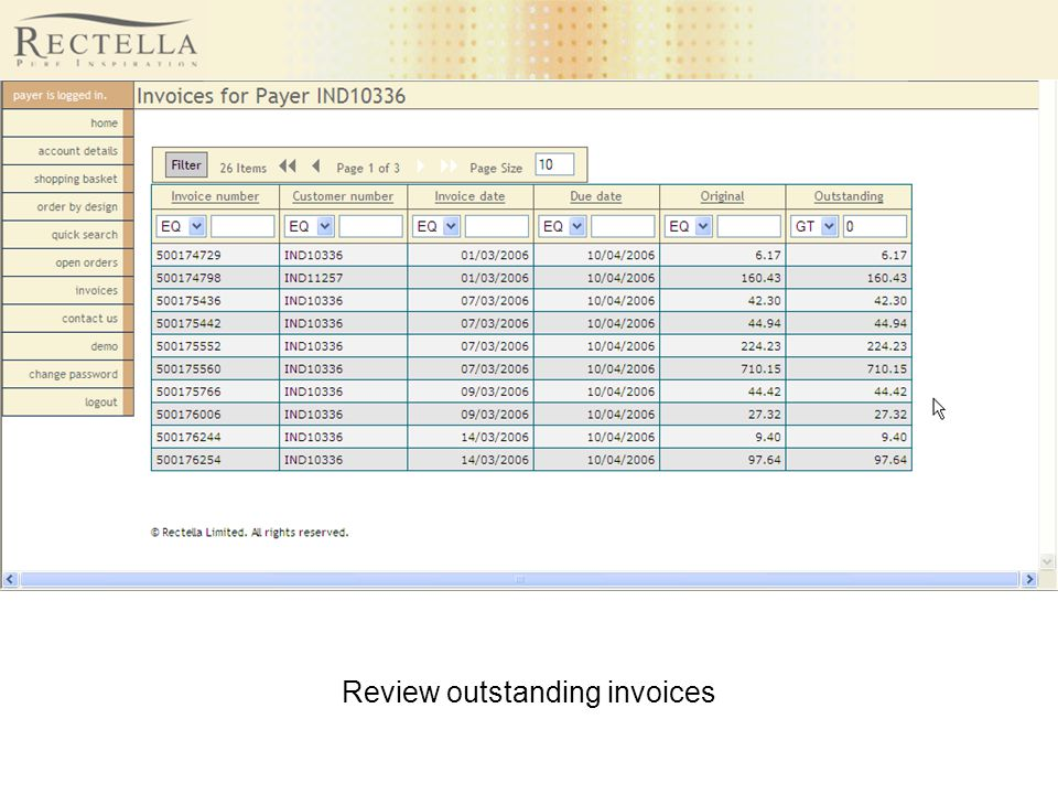 Review outstanding invoices