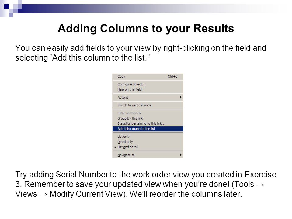 You can easily add fields to your view by right-clicking on the field and selecting Add this column to the list. Try adding Serial Number to the work
