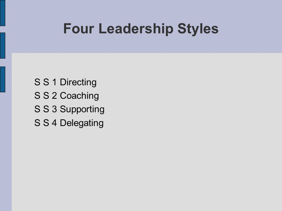 Four Leadership Styles S S 1 Directing S S 2 Coaching S S 3 Supporting S S 4 Delegating