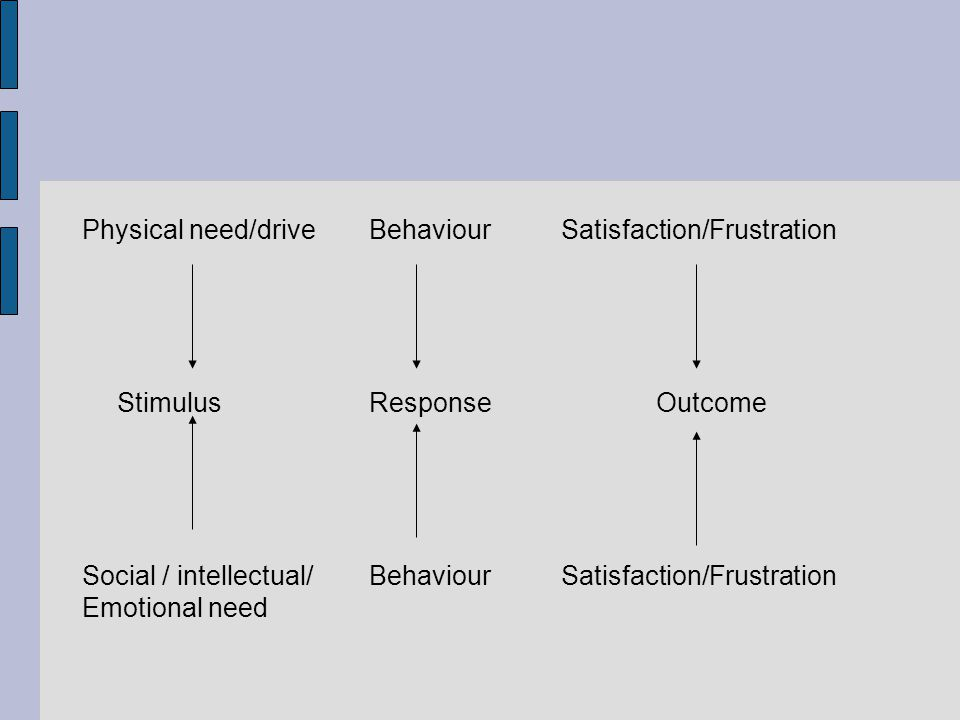 Physical need/driveBehaviourSatisfaction/Frustration Stimulus Response Outcome Social / intellectual/ Behaviour Satisfaction/Frustration Emotional nee