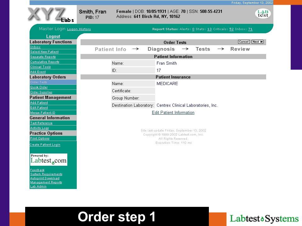 Order step 1