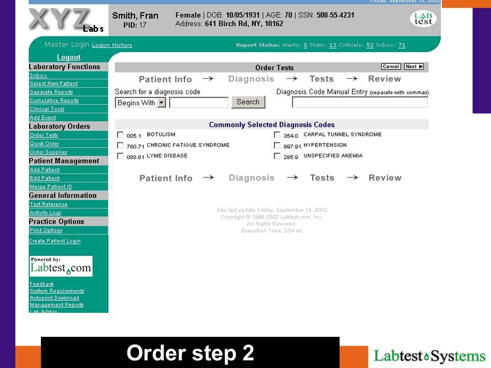 Order step 2