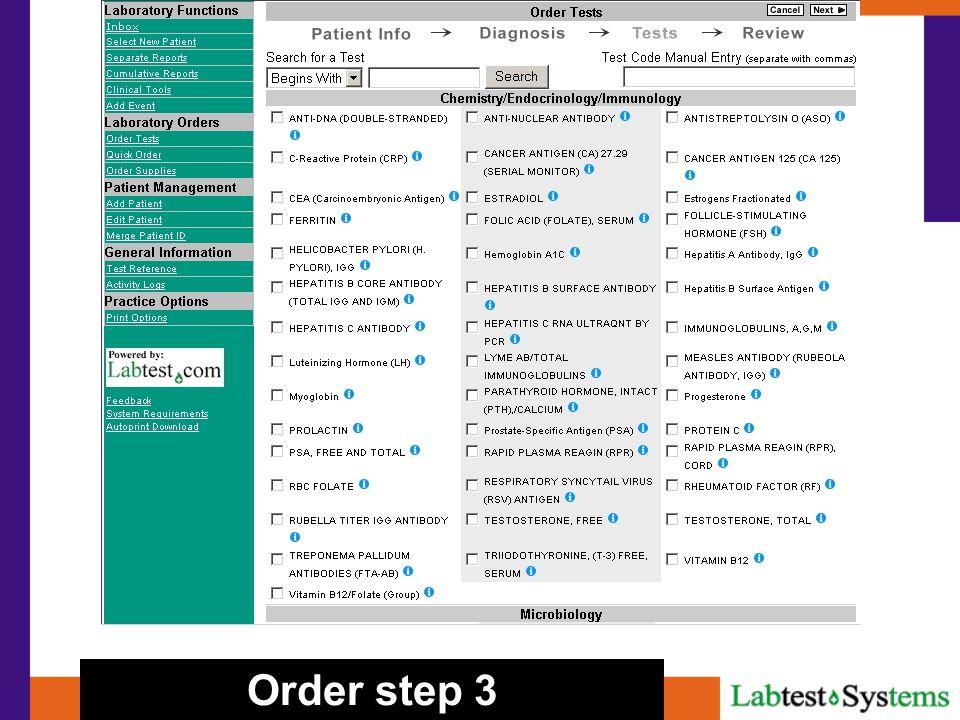 Order step 3