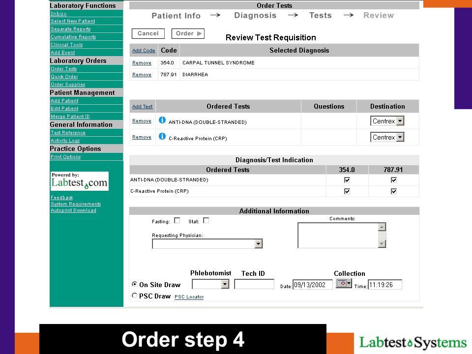Order step 4