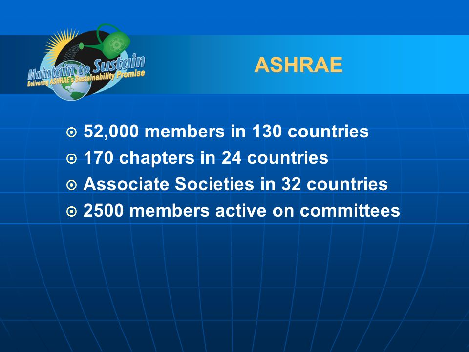 ASHRAE 52,000 members in 130 countries 170 chapters in 24 countries Associate Societies in 32 countries 2500 members active on committees