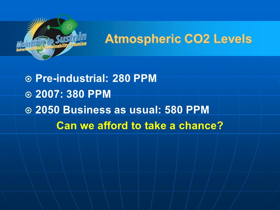 Atmospheric CO2 Levels Pre-industrial: 280 PPM 2007: 380 PPM 2050 Business as usual: 580 PPM Can we afford to take a chance?