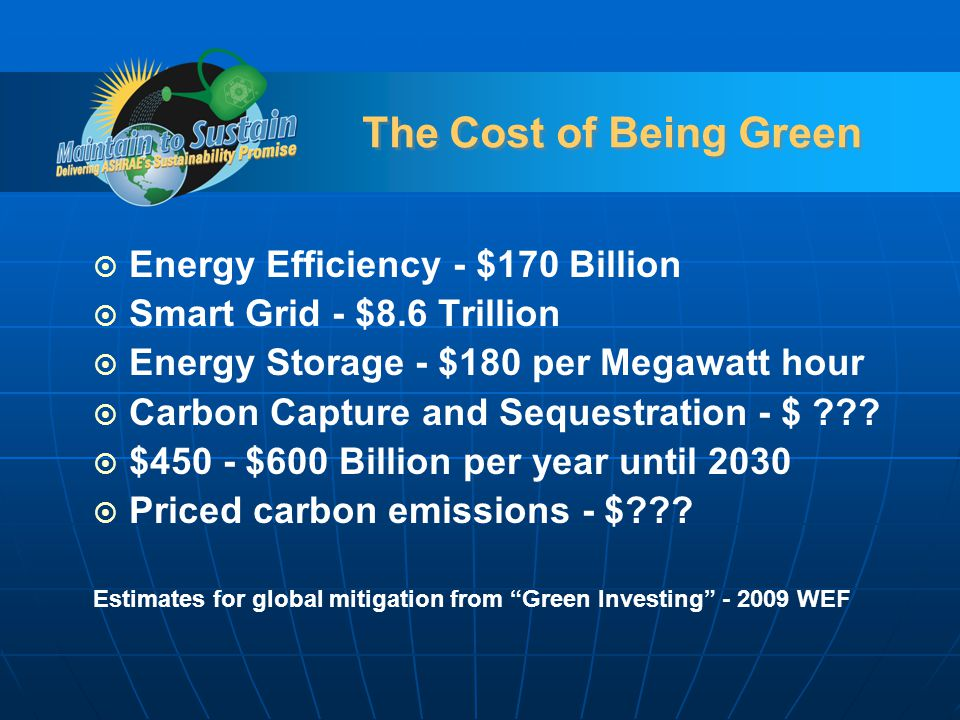 The Cost of Being Green Energy Efficiency - $170 Billion Smart Grid - $8.6 Trillion Energy Storage - $180 per Megawatt hour Carbon Capture and Sequestration - $ ??.