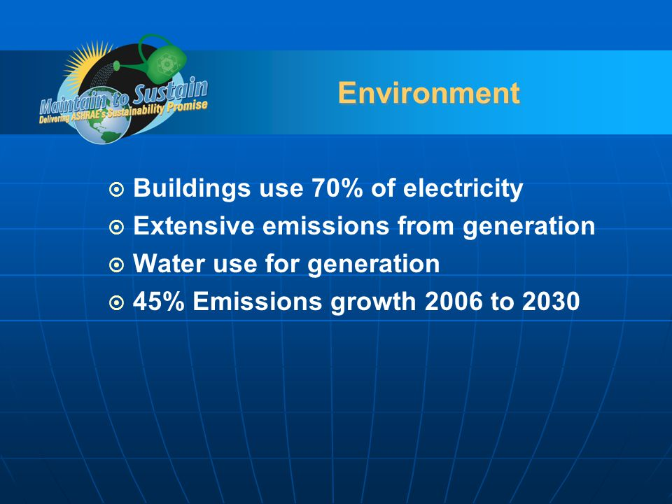 Environment Buildings use 70% of electricity Extensive emissions from generation Water use for generation 45% Emissions growth 2006 to 2030
