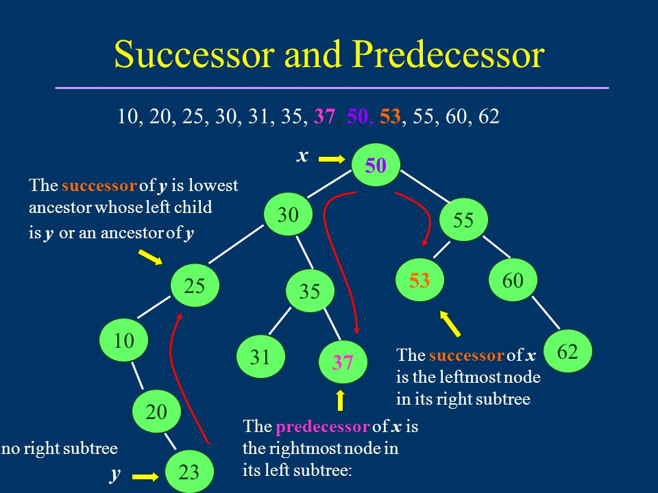 Successor and Predecessor 50 30 25 35 10 20 31 37 55 5360 62 The predecessor of x is the rightmost node in its left subtree: The successor of x is the leftmost node in its right subtree x 10, 20, 25, 30, 31, 35, 37, 50, 53, 55, 60, 62 23 y The successor of y is lowest ancestor whose left child is y or an ancestor of y no right subtree