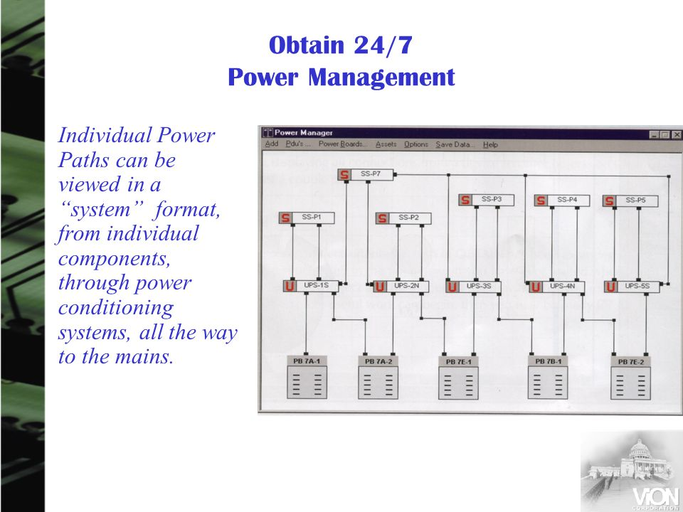 Obtain 24/7 Power Management Individual Power Paths can be viewed in a system format, from individual components, through power conditioning systems, all the way to the mains.